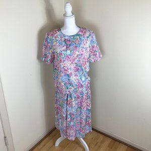 Vintage 90's Pastel Floral Top Skirt Set